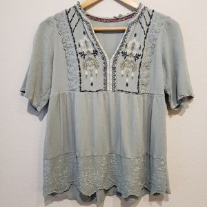 Boho Blue Top with Embroidery Detail